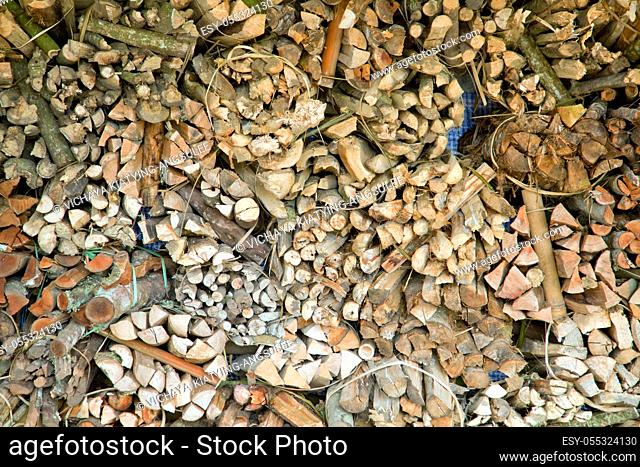 Pile of wood logs Stack ready for Fire in winter