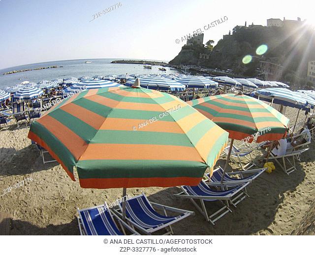 Beach in Monterosso al Mare village on July 17, 2015 Cinque Terre Italy