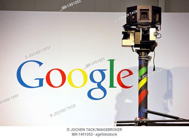 Google Streetview camera vehicle, Computer and IT Trade Fair Cebit, Hanover Messe, Trade Fair, Hanover, Lower Saxony, Germany, Europe
