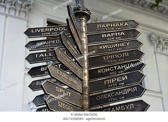 A signpost showing the distances to other port cities in the world; Odessa, Ukraine