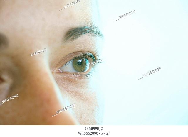 Left eye of a young woman