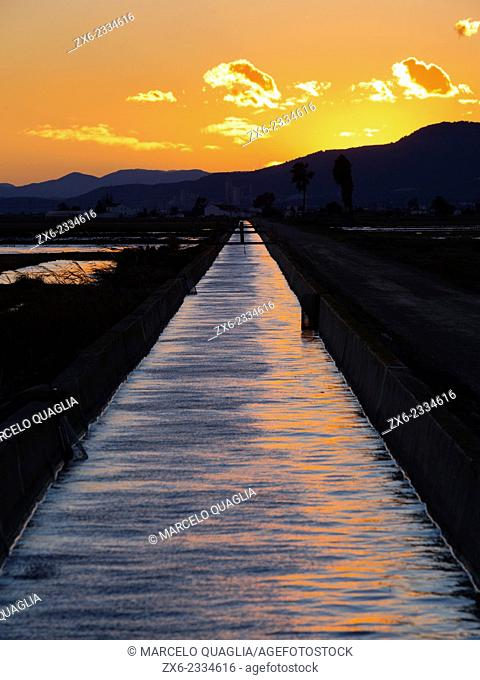 Irrigation channel at dusk. Ebro River Delta Natural Park, Tarragona province, Catalonia, Spain