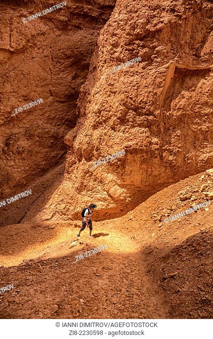 Tourist trecking the rocky landscape ,Bryce Canyon,Utah,USA