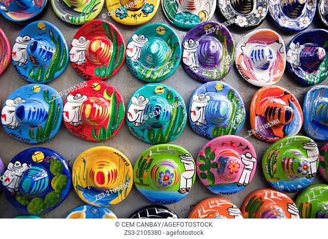 Colorful mexican souvenirs at a street shop in Isla Mujeres, Cancun, Quintana Roo, Yucatan Province, Mexico, North America