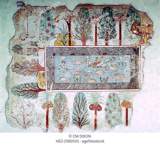 Egyptian wall-painting of an ornamental pool with fish and ducks in a garden with fruits, from the tomb of Nebamun at Thebes, 14th century BC
