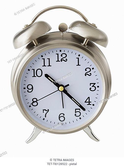 Close up of analog alarm clock