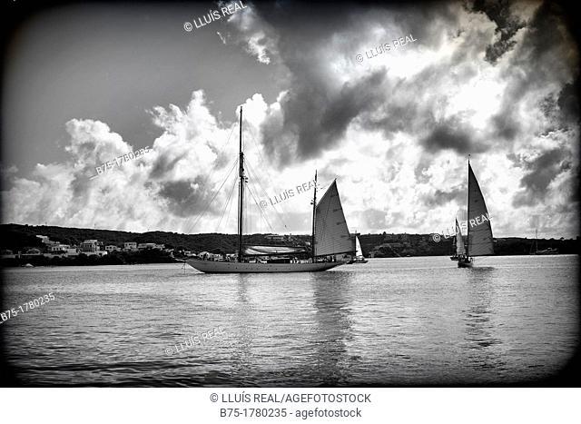 puerto de mahón, menorca, baleares, españa, con veleros de epoca navegando, Mahon harbor, Menorca, Balearics, Spain, with classic boats sailing