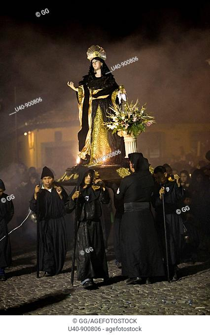 Guatemala, Antigua, Holy week Procession, Good Friday, night