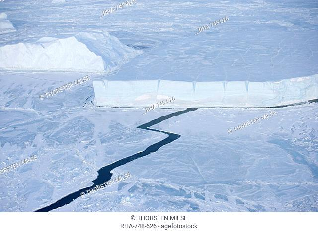 Pack ice and iceberg, Antarctic Peninsula, Weddell Sea, Antarctica, Polar Regions