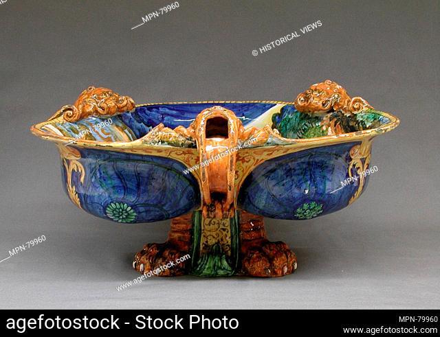 Cistern (one of a pair). Date: ca. 1550-70; Culture: Italian, Urbino; Medium: Maiolica (tin-glazed earthenware); Dimensions: Overall (confirmed): 10 x 19 1/2 x...