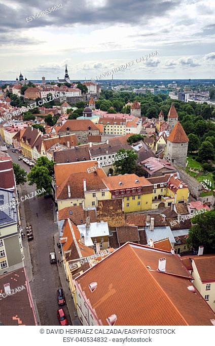 Aerial view of Tallinn medieval city, Estonia