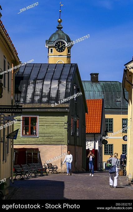 Soderkoping, Sweden Pedestrians walking on Storgatan