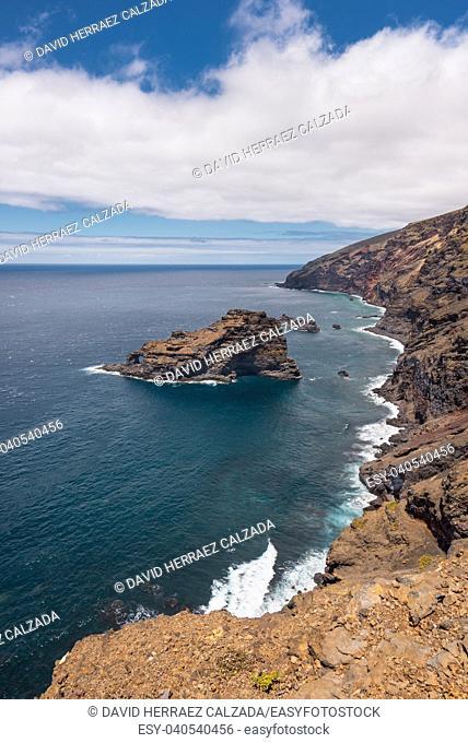 Bujaren coastline in volcanic landscape, La Palma, Canary islands, Spain