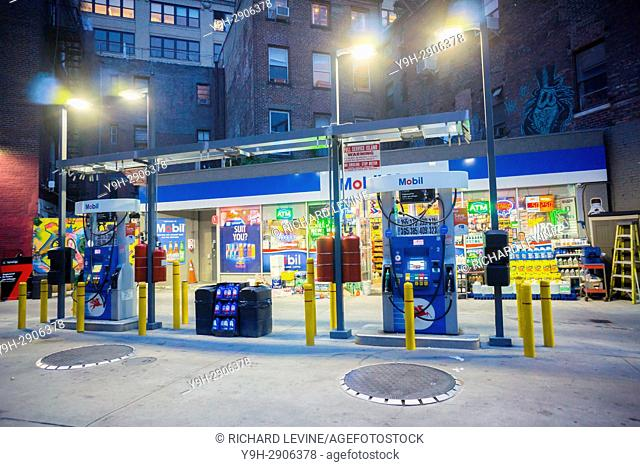 A Mobil gas station in the Greenwich Village neighborhood of New York
