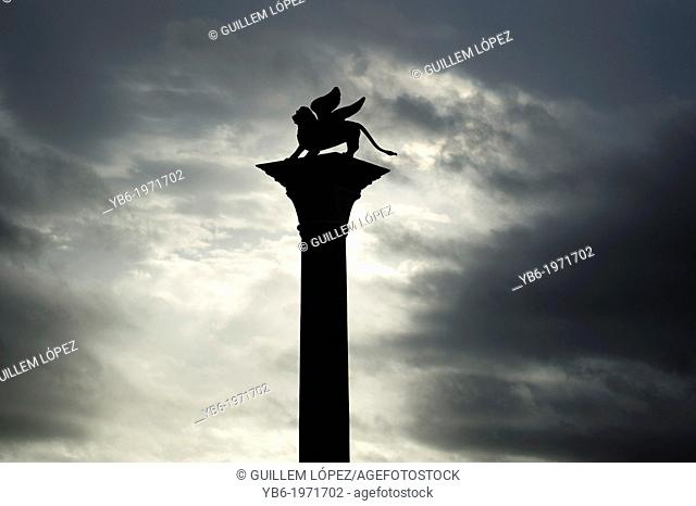 St. Mark's Winged lion column in St. Mark's Square, Venice, Italy