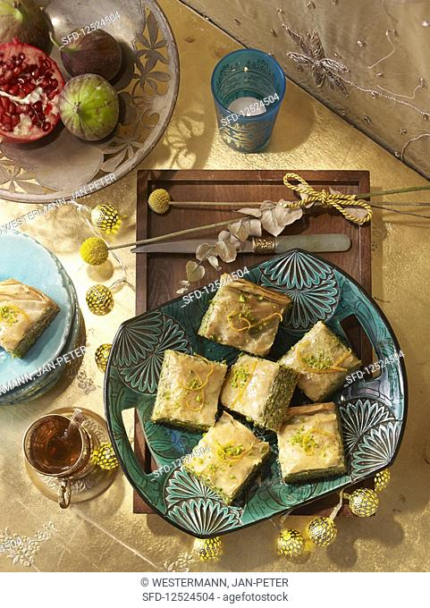 Baklava with pistachios for Christmas