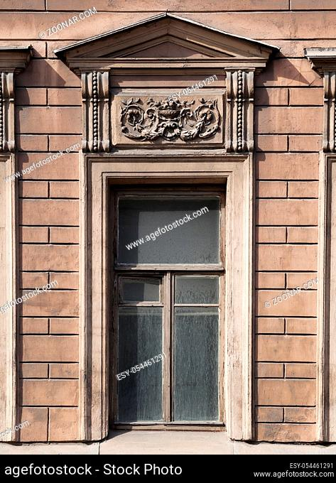 Architecture detail, window of an old building, Saint-Petersburg, Russia