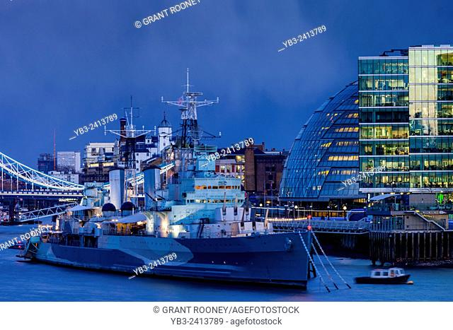 HMS Belfast and The More London Development, London, England