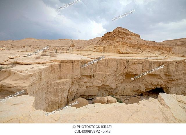 Deep dry river gorge cut in dry Marl sandstone by flood water, Dead Sea, Israel