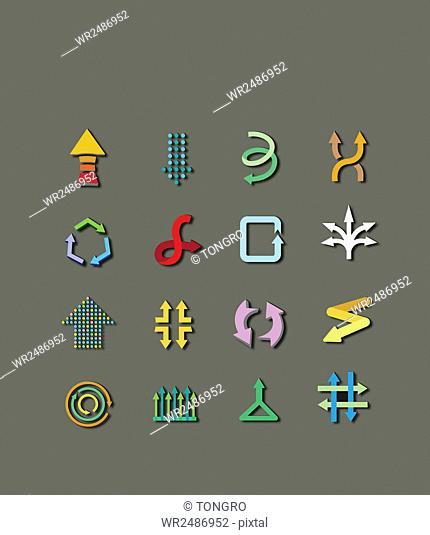 Icon set of various arrows