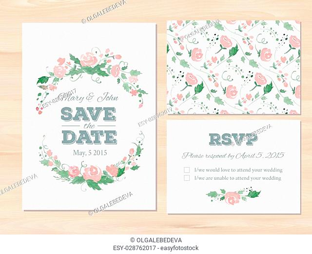 Wedding set with watercolor flowers and typographic elements. Save the date invitation, RSVP card, seamless floral background