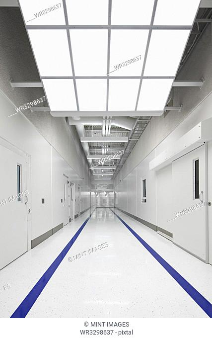 Blue stripes on jail corridor