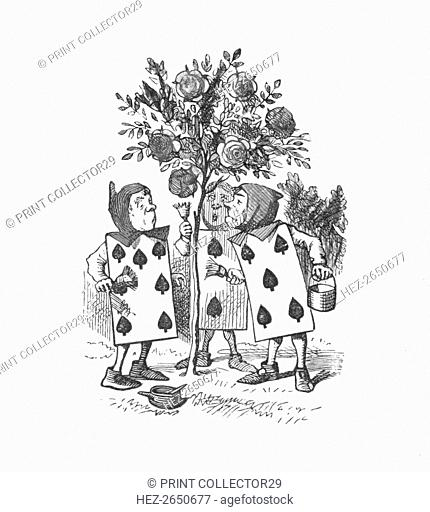 'The Playing cards painting the Rose Bushes', 1889. Artist: John Tenniel