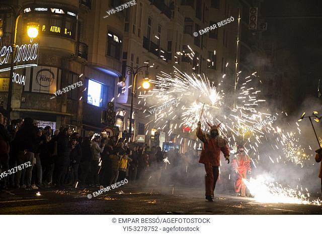 Correfoc. Street parade with fireworks. Fallas festival. València. Spain. 2019