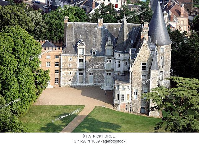 AERIAL VIEW OF THE CHATEAU OF COURTALAIN, BUILT IN THE 15TH CENTURY, A MIX OF MEDIEVAL ARCHITECTURE, ENGLISH NEO-GOTHIC AND RENAISSANCE STYLE ADDED IN THE 19TH...