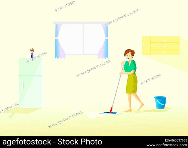 The housekeeper is cleaning the floor in the house with a refrigerator and window as the background