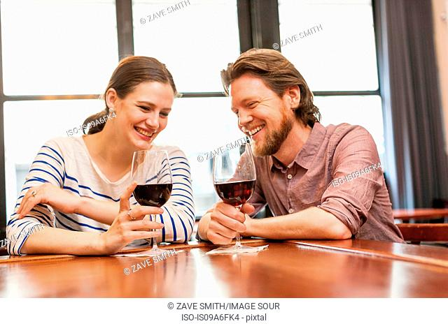 Couple at wine bar