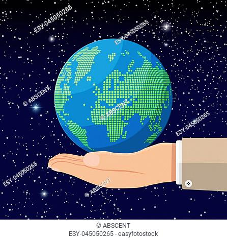 World map silhouette in hand. Globe in dots in space. Cartography and geography. Vector illustration