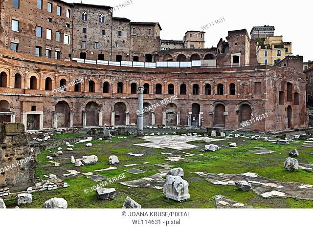 The space between the Forum of Trajan and the last foothills of the Quirinal Trajan's architect Apollodorus used for creating the so-called Trajan markets
