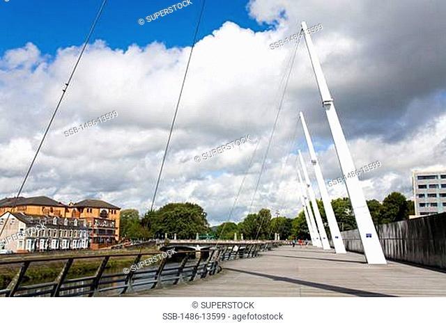 Riverwalk along River Taff, Cardiff City, Wales, United Kingdom, Great Britain, Europe
