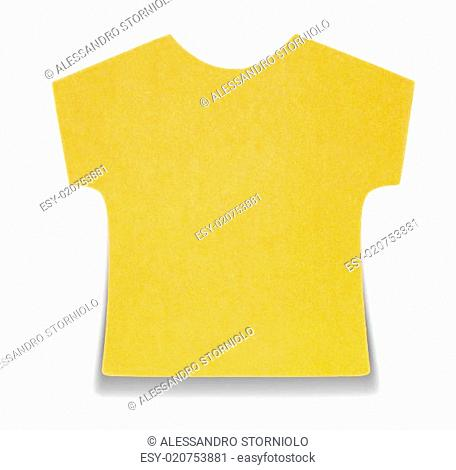 Flat orange T-shirt sticky note, isolated on white background, with shadow on bottom