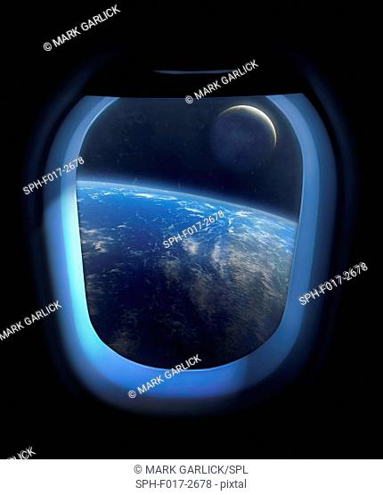 Artwork showing the Earth and Moon from the window of a space vehicle, sometime in the future. The view shows the lunar far side directly beneath us