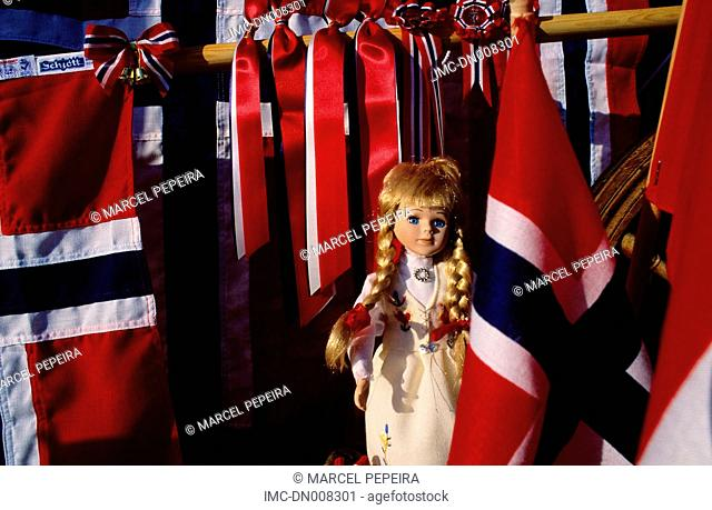 Norway, Bergen, norvegian flags
