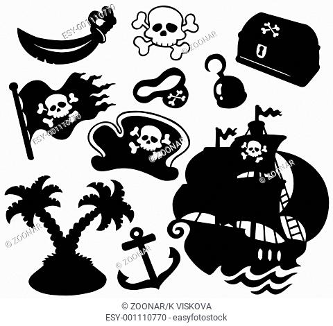 Pirate silhouettes collection - isolated illustration