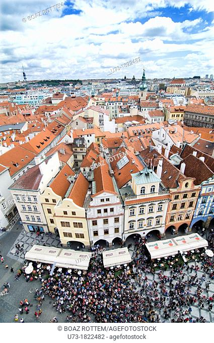 crowd gathers at the astronomical clock tower in the old town square, Stare Mesto, Prague, Czech Republic