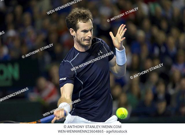 Davis Cup Round 1 - Andy Murray (Great Britain) v Ken Nishikori (Japan), 7-5, 7-6, 3-6, 4-6, 6-3 - Match 4 Featuring: Andy Murray Where: Birmingham