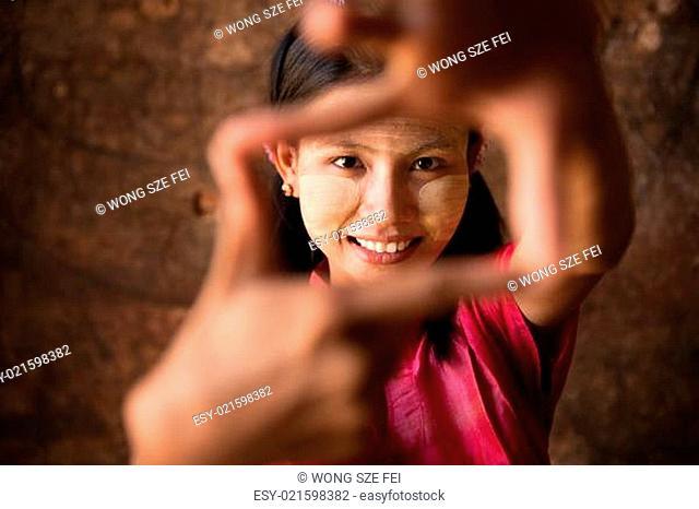 Myanmar girl playing fun