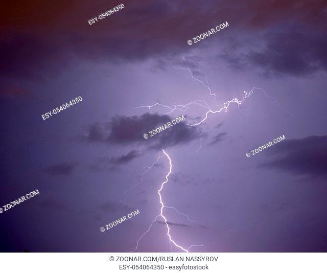 Lightning strike in the sky
