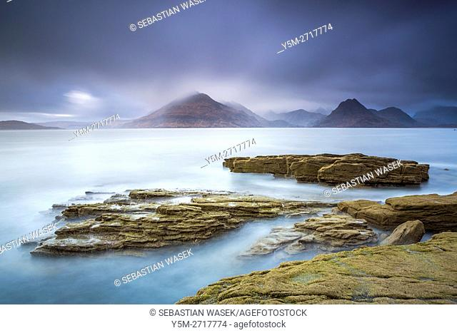 Cuillins Hills across Loch Scavaig seen from the beach of Elgol, Isle of Skye, Inner Hybrides, Highland, Scotland, United Kingdom, Europe