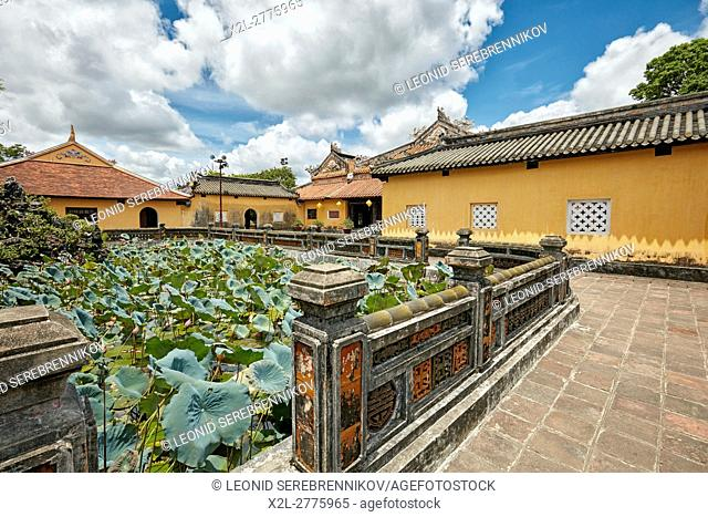 Lotus Lake at Truong Du Pavilion. Dien Tho Residence, Imperial City, Hue, Vietnam