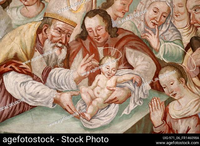Notre Dame de l'Assomption de Cordon church. Fresco. The Circumcision of Christ. France. France