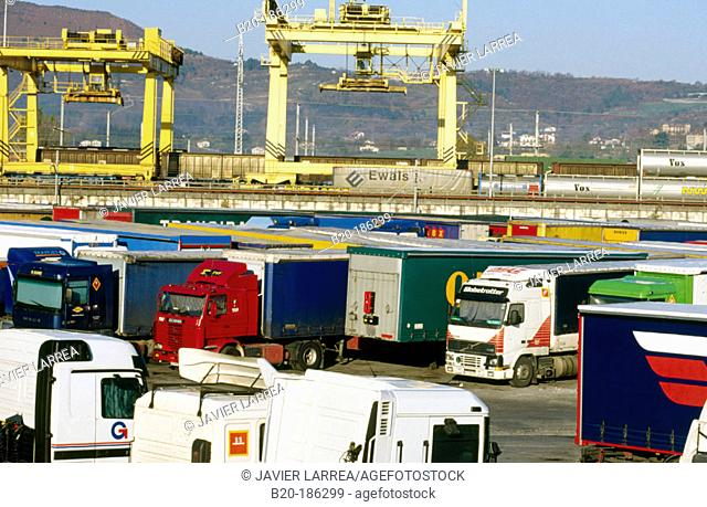 Parked trucks at the Spanish-French border. Irún. Gipuzkoa. Spain
