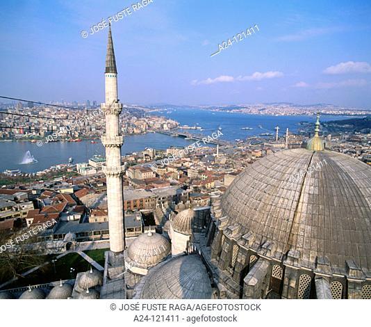 Suleymaniye mosque and Bosphorus strait. Istanbul. Turkey