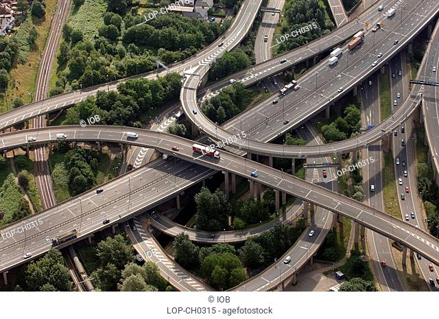 England, West Midlands, Birmingham, Spaghetti Junction on the M6 at Birmingham. Officially called the Gravelly Hill Interchange