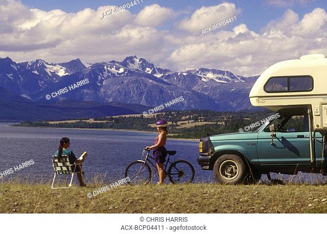 RV camping overlooking Tatlayoko Lake and Coast Mountains, Chilcotin region, British Columbia, Canada