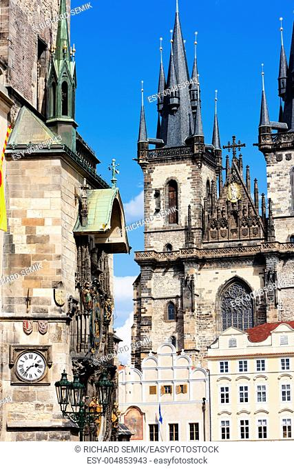 Tynsky church at Old Town Square, Prague, Czech Republic